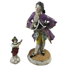 "Cavalier and his Musician from Germany 9""  Tall"
