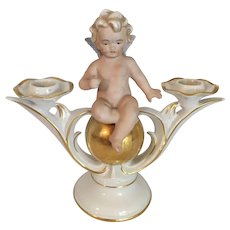 "Double Candlestick  with a Cherub 8"" high"