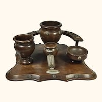 """Treen Cigar and Tobacco Smoking Stand 11"""" x11"""""""