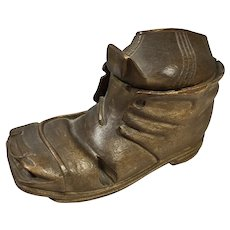 """19th C Treen Black Forest Shoe/Boot Ink Well 3"""" high"""