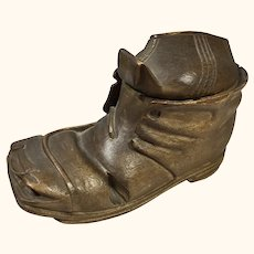 "19th C Treen Black Forest Shoe/Boot Ink Well 3"" high"