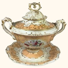 "Old Paris Type Tureen 7  1/2"" high"