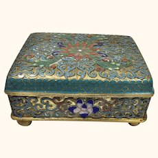 "Antique Chinese Cloisonne  Orchid Box  3 3/4 "" W"
