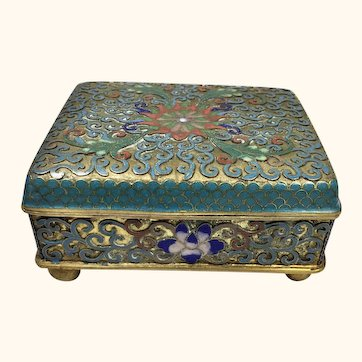 """Antique Chinese Cloisonne  Orchid Box  3 3/4 """" W"""