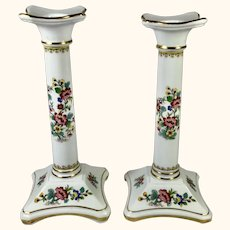 "Pr Porcelain Candlesticks by Coalport 8"" high"