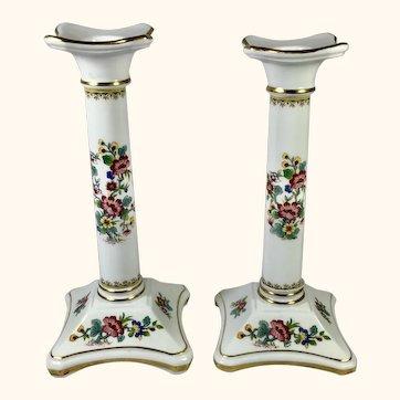 """Pr Porcelain Candlesticks by Coalport 8"""" high"""