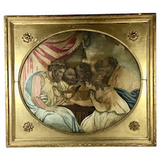 "18th Century Needlework Water Color 21"" x 18"""