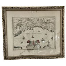 """Antique Map of French and Italian Coast  Frame 27"""" x22"""""""
