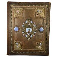 """Rare Antique Leather Folio/Book Cover 14"""" x 18"""""""