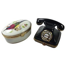 """Limoges Telephone and Bird boxes  2  5/8"""""""
