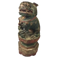 """Antique Chinese Guardian Foo Carved Wood  10"""" Tall"""