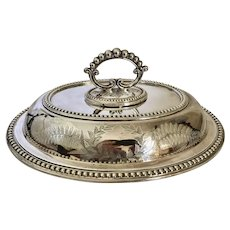 "English Britannia Plated Entree Dish Signed Circa 1880 12 1/4"""