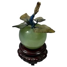 """Chinese Hard -Stone Apple Paperweight  2  1/2"""" D"""