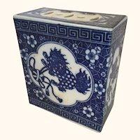 Chinese Porcelain Pillow Form Censor Guardian Motif