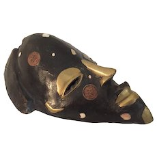 """African Mask with Coins from Nigeria 8 1/2 """" long"""