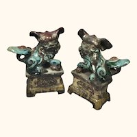 18Th - 19Th Century  Chinese Foo Lion Joss Stick/ Incense Holders