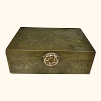 """Brass Box and Tray from China  4  1/2"""" Long"""