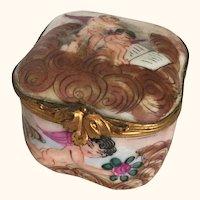 """Capodimonte Cupid Porcelain Pill/Trinket Box 2"""" D"""