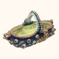 "Imperial Amphora Flower Encrusted Bowl/Basket 12"" Long"