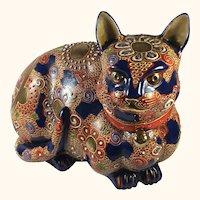 "Japanese Satsuma/Imari Porcelain Cat   9"" Long"