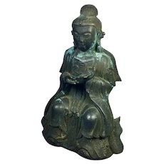 """Antique Buddha in a seated position 7  1/4"""" H"""