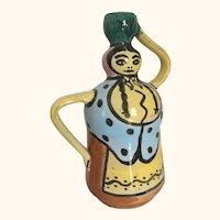 "Picasso Style Art Pottery Pitcher/Vase 7  1/2"" H"