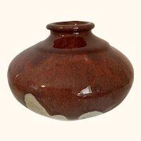 "Flambe type Art Pottery Vase Signed 6"" Diameter"