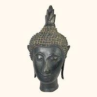 """Antique Bronze Thai Buddha Head  11"""" Tall"""