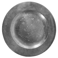 "Antique English Pewter Plate 9 3/4"" diameter"
