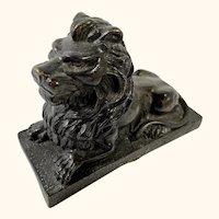 "Miniature Bronze Lion Artifact or Paperweight 4  1/2"" Long"