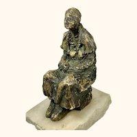 """Antique Gilt Bronze Sculpture of an Old Woman 7"""" Tall"""