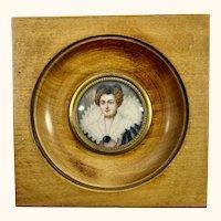 """19th C Miniature Portrait of a Lady. 4  1/4"""""""