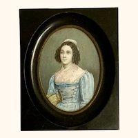 "19th Century Miniature Portrait  4"" x 4  3/4"""