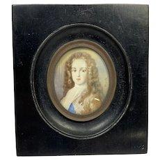 """19th C Miniature Portrait Signed  4  1/2"""""""