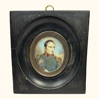"19th C Miniature Portrait of Napoleon Bonaparte Signed 4  1/2"""