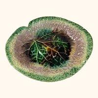 "19th C Continental Majolica Leaf Platter  11  1/2"" Long"