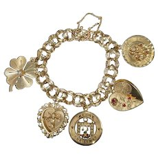 Vintage 14k Triple Link Heart Charm Bracelet with 5 Large Charms