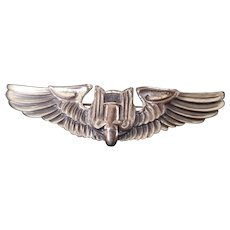 WWII Bomber Pilot Wings Sterling Pin US Air Corps