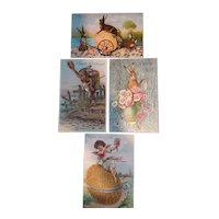 Easter Postcards - Lot of 4 circa early 1900s - Bunny Rabbit