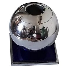 CHASE Orb Chrome Blue Mirror Candle Holder - Art Deco  Centaur Mark 1930's