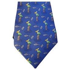 Vintage Hermes Silk Tie w/ Pelican & Fish Pattern