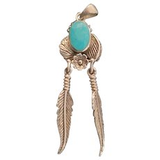 Sterling & Turquoise Native American Drop Pendant
