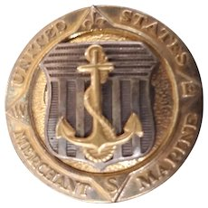 WWII Sterling Silver Merchant Marine Badge Pin