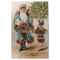 Antique Blue Santa Postcard c. 1908 Germany