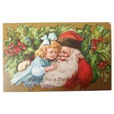 c. 1910 Santa w/Girl Postcard