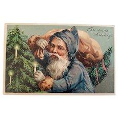 1909 Blue Purple German Santa Postcard
