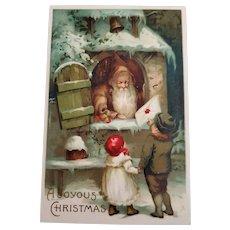 Santa in Brown - German Postcard Early 1900s