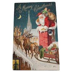 1906 Santa w/Reindeer Postcard P. Sander