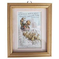 Framed Santa & Reindeer Atmore's Mince Meat Trade Card