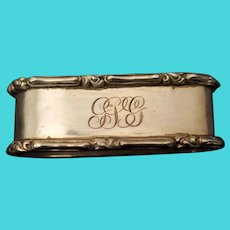 Heavy Sterling Silver Oblong Monogrammed Napkin Ring